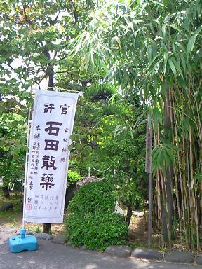 石田散薬の旗と土方さんが武士になるのを夢見て植えたといわれる竹