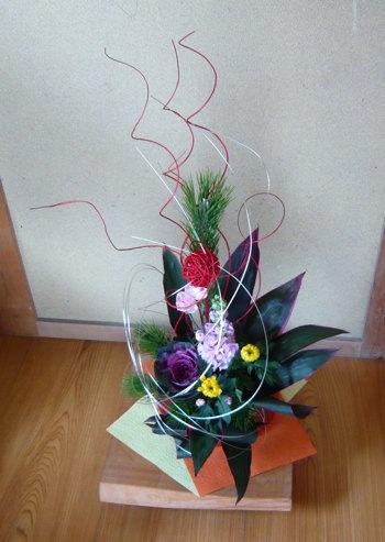 正月用生け花とマット
