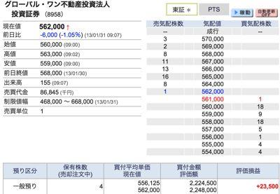 8958 グローバルワン 売却