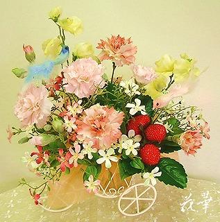 母の日・小鳥の舞うカーネーションの花籠・三輪車・オレンジ