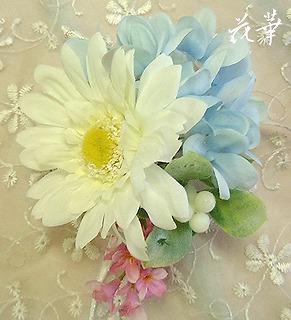 ガーベラと紫陽花とライラックのコサージュ・ホワイト