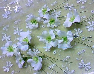 ウエディングドレスに合わせる白い小花の髪飾り(ヘッドピース)