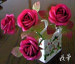 布花・染め花・ハンドメイドの薔薇・お多福バラ
