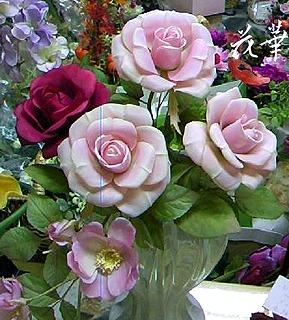 ハンドメイドの薔薇(布花・染め花・アートフラワー)