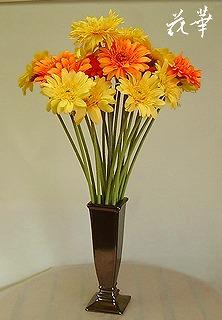 黄色とオレンジの大輪のガーベラ(アートフラワー・造花)