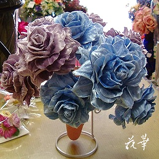 布花・青いバラ(ブルーローズ)のウエディングブーケ&ブートニア