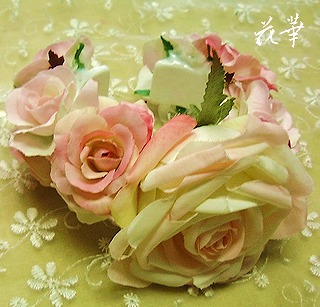 生徒さんの手作りウエディングブーケ&ブートニア(アートフラワー・上質造花)・リストコサージュ
