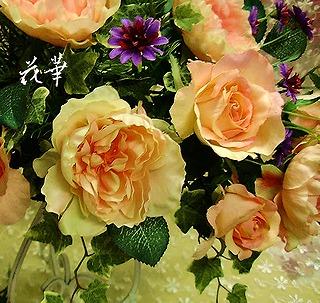 オールドローズを使ったインテリアフラワーアレンジメント(アートフラワー・上質造花)・生徒さん作品
