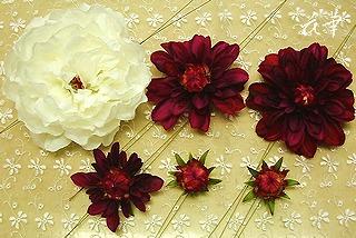 大輪の薔薇とダリアの髪飾り(ヘッドコサージュ)
