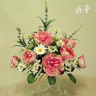 キャンドルスタンドにピンクのオールドローズのアレンジメント(インテリアフラワー・アートフラワー・上質造花)・オーダーメイド商品