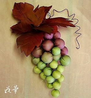 ハンドメイドの葡萄と葉っぱ(布花・染め花・アートフラワー)