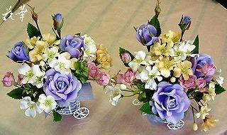 お誕生日プレゼントに贈るお花・インテリアフラワーアレンジメント(アートフラワー・上質造花)・オーダーメイド商品