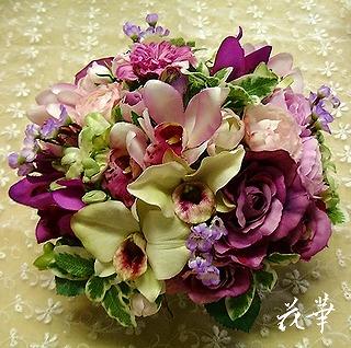 生徒さんの復習・インテリアフラワーアレンジメント(アートフラワー・上質造花)