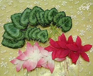 ハンドメイドのミニ・シクラメンの鉢植え制作開始!(布花・染め花・アートフラワー)
