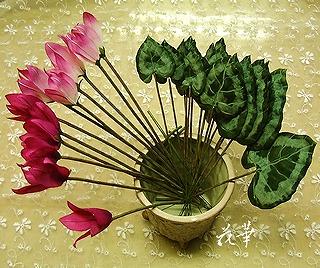 ハンドメイドのミニ・シクラメンの鉢植え制作・その2(布花・染め花・アートフラワー)