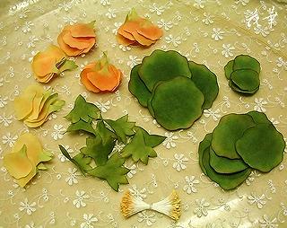ハンドメイド・ナスタチウムのお花の制作開始その2(布花・染め花・アートフラワー)