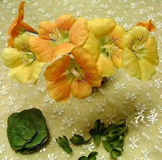 ハンドメイド・ナスタチウムのお花の制作開始その3(布花・染め花・アートフラワー)
