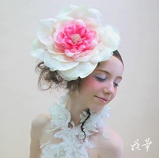 特大の薔薇の髪飾り(ヘッドコサージュ・ヘッドピース)・Blooming Rose 布花・染め花・アートフラワー