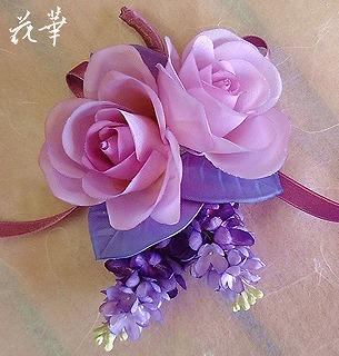 薔薇とリラ(ライラック)のコサージュ(布花・染め花)お教室・武蔵小金井・杉並区阿佐ヶ谷