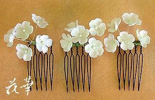 小花・カスミソウの髪飾り・ヘッドドレス(布花・染め花)