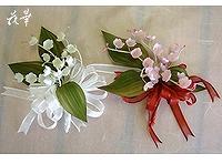 布花・鈴蘭のコサージュ(染め花・アートフラワー)