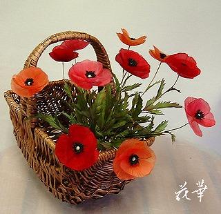 ハンドメイド・ヒナゲシ(ポピー・アマポーラ・虞美人草・コクリコ)のお花(布花・染め花・アートフラワー)