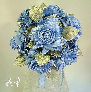 青いバラ(ブルーローズ)のウエディングブーケー&ブートニア(布花・ハンドメイド)