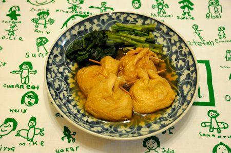 小松菜ともち茶巾の含め煮