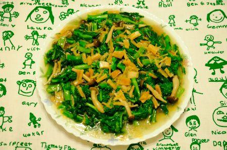 春野菜の干し貝柱ソースあんかけ