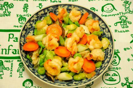 空豆と海老の炒め