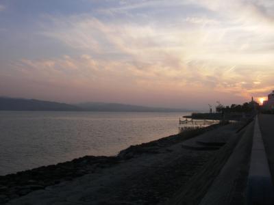 印度亜開店前に宍道湖の夕焼け