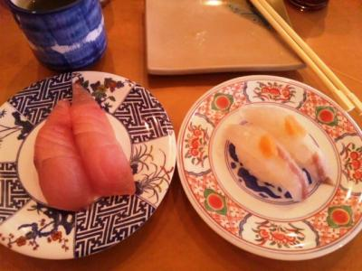 130619廻鮮寿司塩釜港生ブリ200円(左)コチ250円(右)