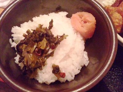 130627博多もつ鍋 やまや大阪北浜店おかわりライス、高菜、明太子