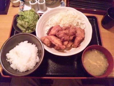 130627博多もつ鍋 やまや大阪北浜店鶏の唐揚げ明太風味定食980円