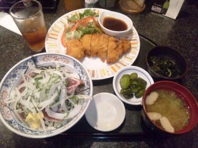 130711梵天食堂中野栄店本日の日替わりランチ750円カツオたたき丼チキンカツ