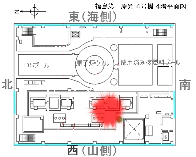 4号機原子炉建屋4階平面図FFFFFF