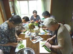 胡瓜の速切り競争