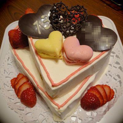 お友達のハートのケーキ