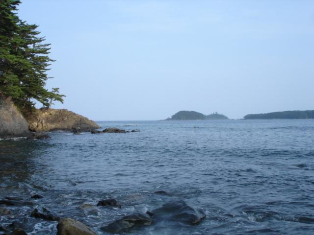 休暇村大島の近くの海。