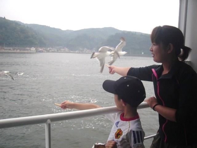 大島行きのフェリーで。