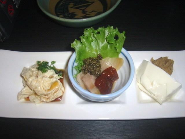 お豆腐と湯葉と鰊のお刺身