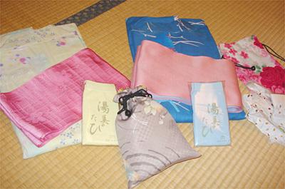 浴衣と帯とポーチ