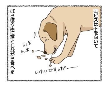 羊の国のラブラドール絵日記シニア!!「オヤツの食べ方それぞれ」4コマ2