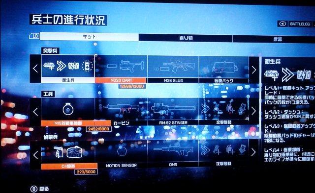 兵士のキットステータス画面。見やすくなりました