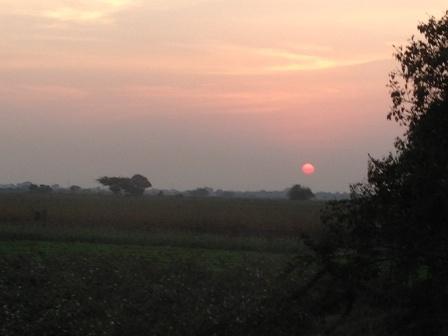 バスから見た夕日