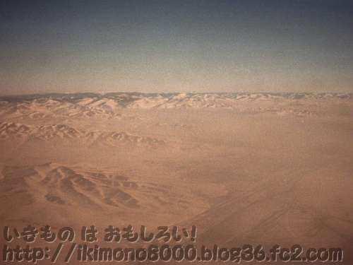 10,000mから見たゴビ砂漠