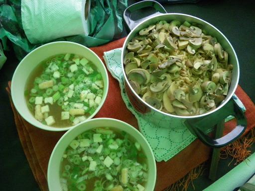この日の夕飯 キノコご飯と味噌汁_サイズ変更
