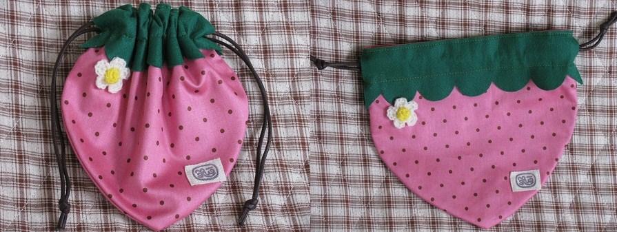 _Ku^ちゃん作の苺巾着