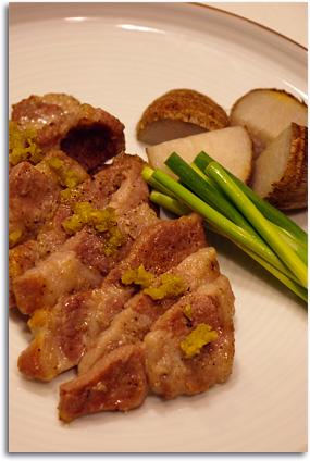 里芋と豚肉の柚子こしょう焼