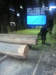 丸太柱準備